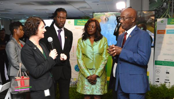 BP's Regional President Claire Fitzpatrick (left) makes a point as Parliamentary Secretary in the Ministry of Public Utilities Adrian Leonce, Minister of Communications Senator the Honourable Donna Cox and with Prime Minister Dr the Honourable Keith Rowley listen during BP's Technology Open House. Partially hidden is Minister of Energy and Energy Industries Senator the Honourable Franklin Khan.